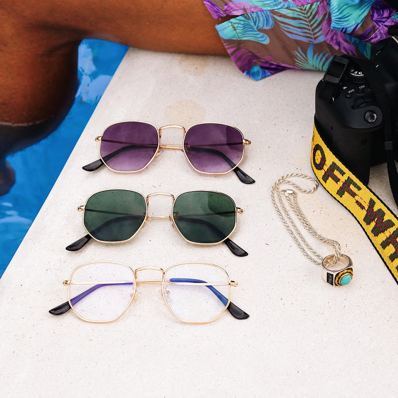 【3color】square metal sunglasses