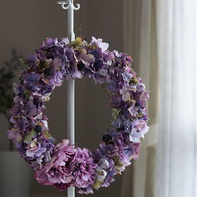 パープル紫陽花の大き目リース