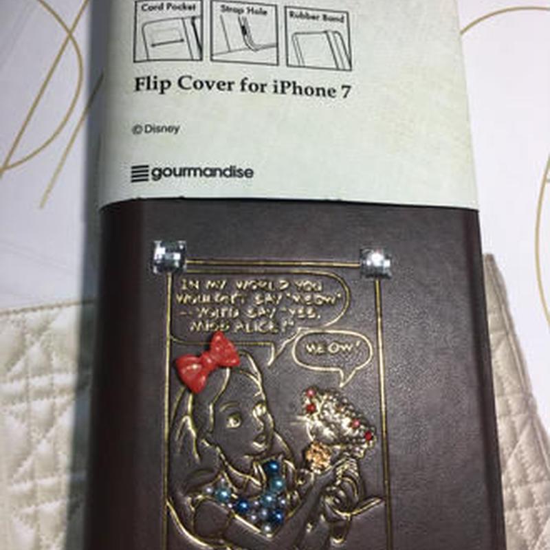 DisnyアリスiPhone7デコ手帳型ケース