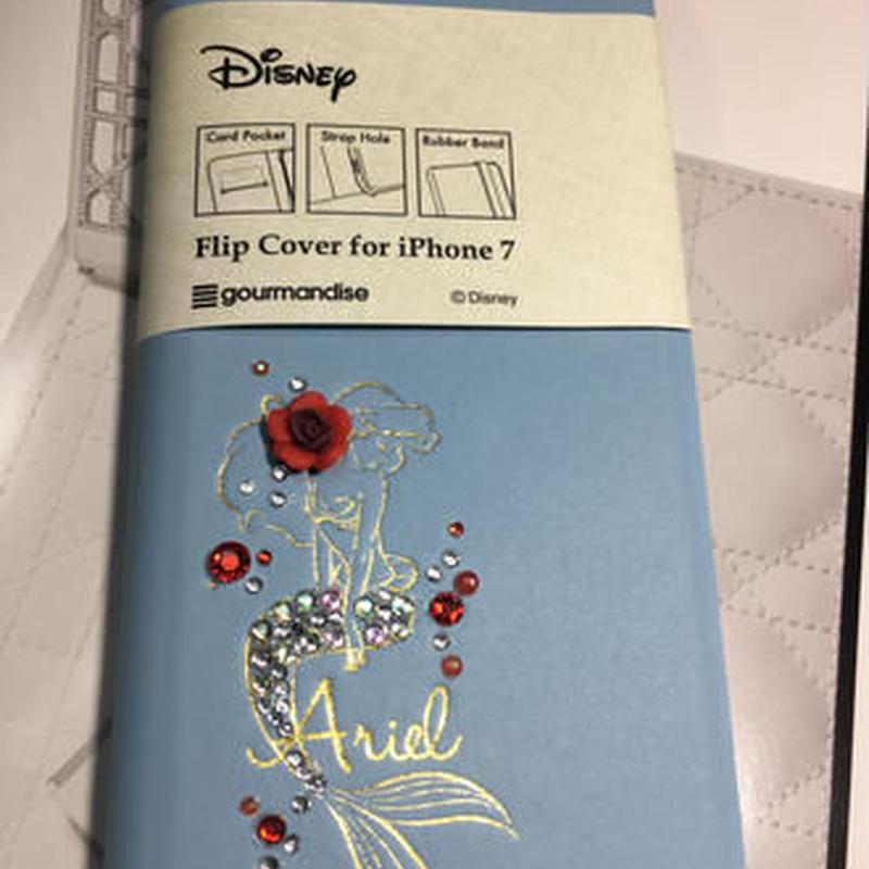 DisnyアリエルiPhone7デコ手帳型ケース