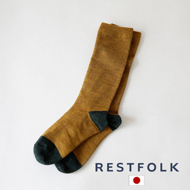RESTFOLK 日本製 ウールダブルシルクソックス ポイントカラー 靴下 res005