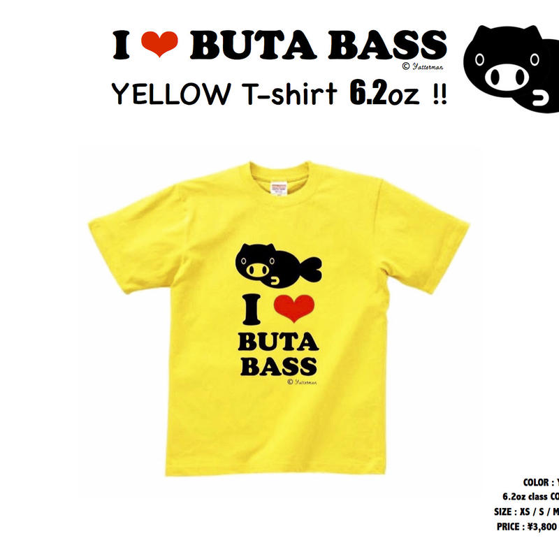 BUTA BASS T-shirt 6.2oz YELLOW !!