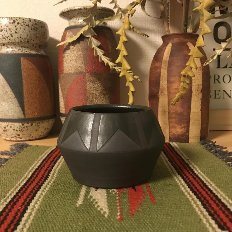 Black ◆bkb ceramics Geometric planter ◆8◆bkbセラミックス 幾何学模様 鉢 プランター