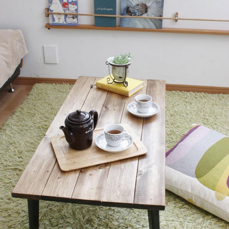 【送料安】無垢材の折りたたみテーブル【カフェ風】【インダストリアル】【ローテーブル】【コーヒーテーブル】