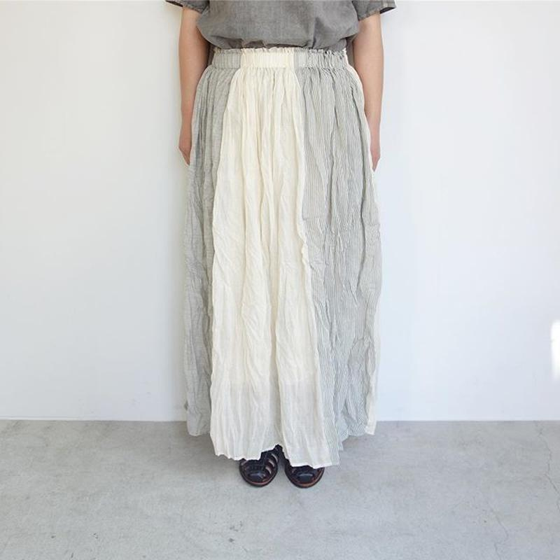 FACTORY シルク綿 × インド綿 3TONE ギャザースカート