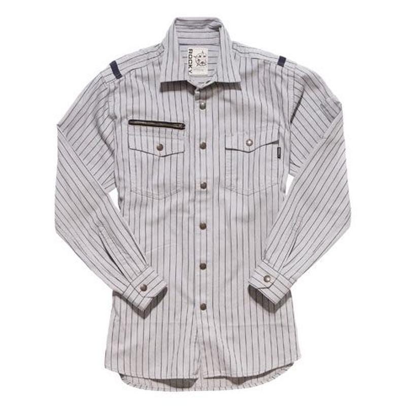 【ROCKY】MEN'S ストライプミリタリーシャツ(サンドクレー)