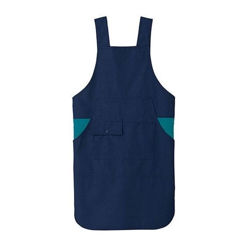 【Natural Smile】H TYPE APRON(Navy×Turquoise)/H型胸当てエプロン(ネイビー×ターコイズ)