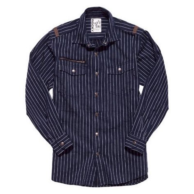 【ROCKY】LADIES' ストライプミリタリーシャツ(アースネイビー)