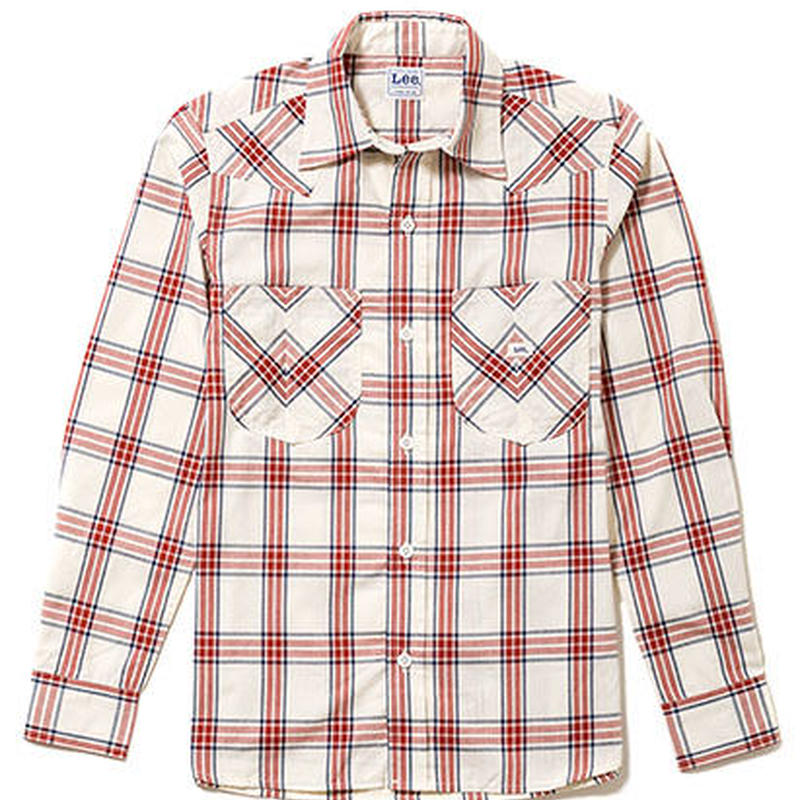 【Lee】MENS WESTERN CHECK SHIRTS(Red)/メンズ ウエスタン チェック長袖シャツ(レッド)