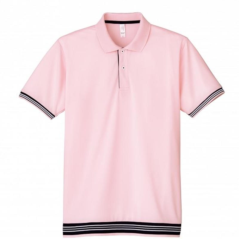 【Natural Smile】LINE RIB POLO SHIRT(Light Pink)/裾ラインリブポロシャツ(ライトピンク)