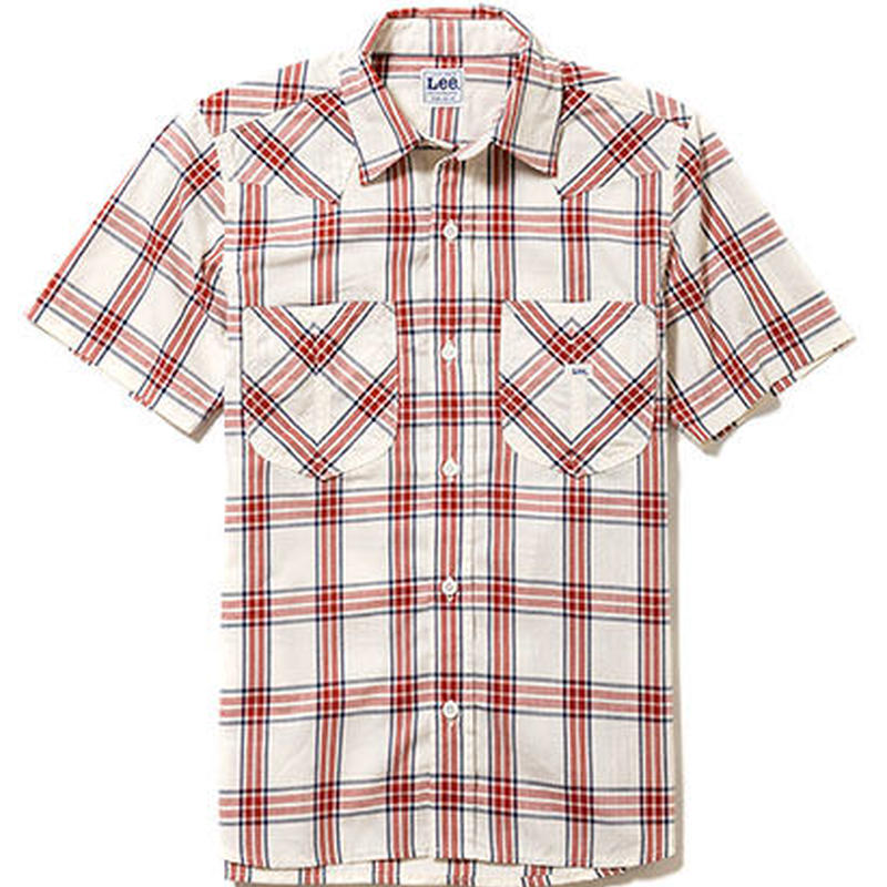 【Lee】LADIES WESTERN CHECK SHIRTS(Red)/レディース ウエスタン チェック 半袖シャツ(レッド)