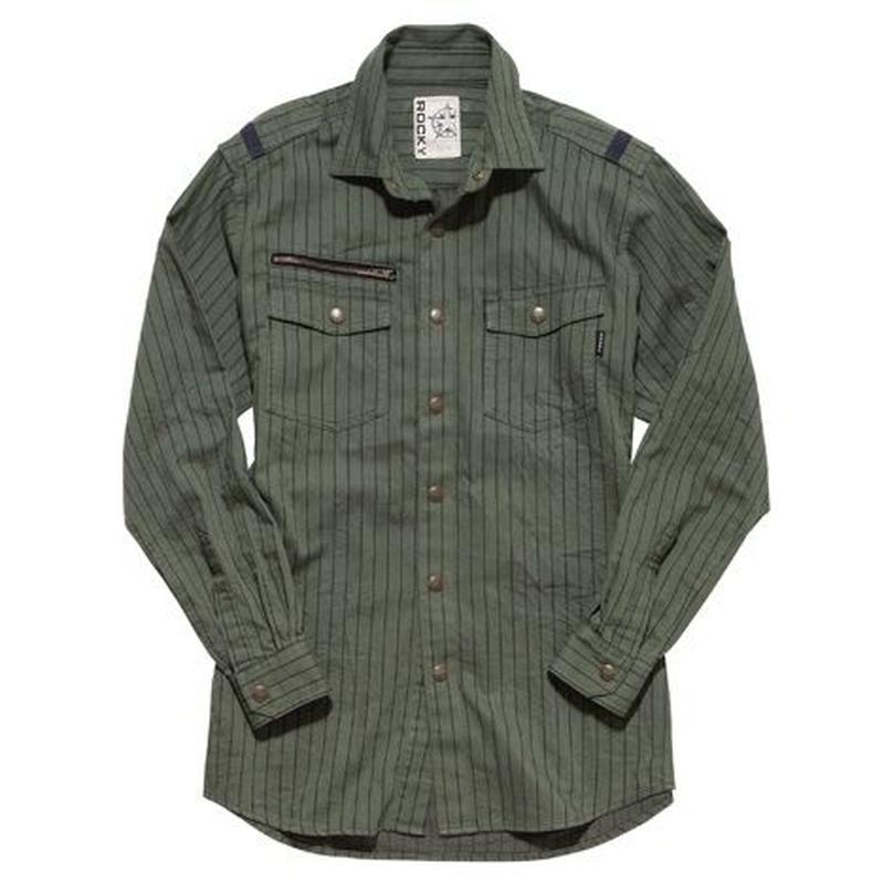 【ROCKY】LADIES' ストライプミリタリーシャツ(ソイルカーキ)