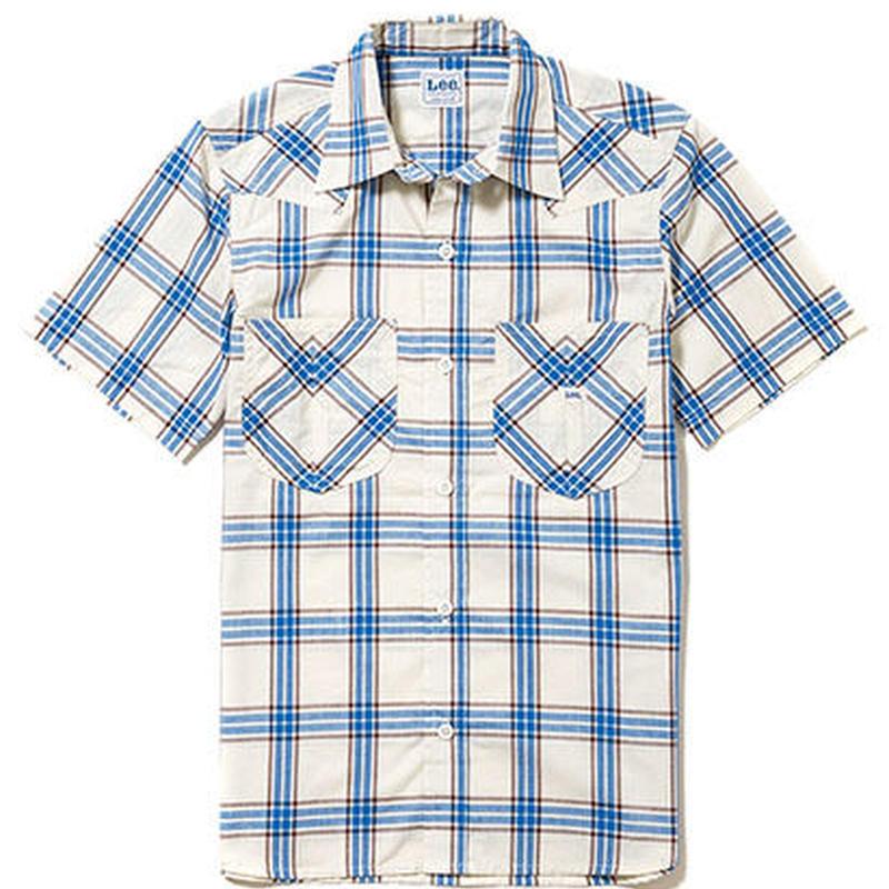 【Lee】LADIES WESTERN CHECK SHIRTS(Blue)/レディース ウエスタン チェック 半袖シャツ(ブルー)