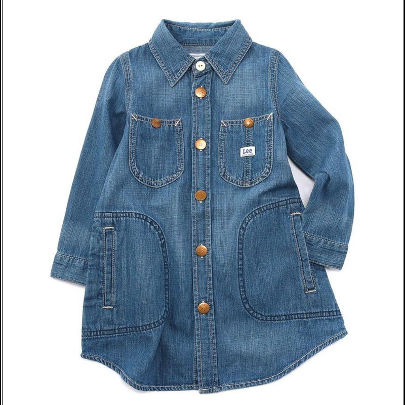 【Lee Kids】WORK DRESS(Mid Used)/ワークドレス(中色ブルー)