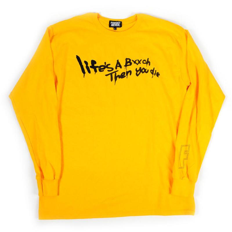 Life's a bxxch Long Sleeve Shirt  【Gold / Black】