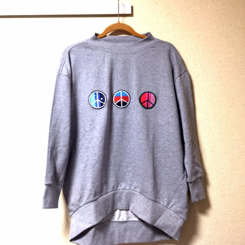 "18ss iSOLATED ARTS""Peace""Over Size Mock Sweat  - GRAY"