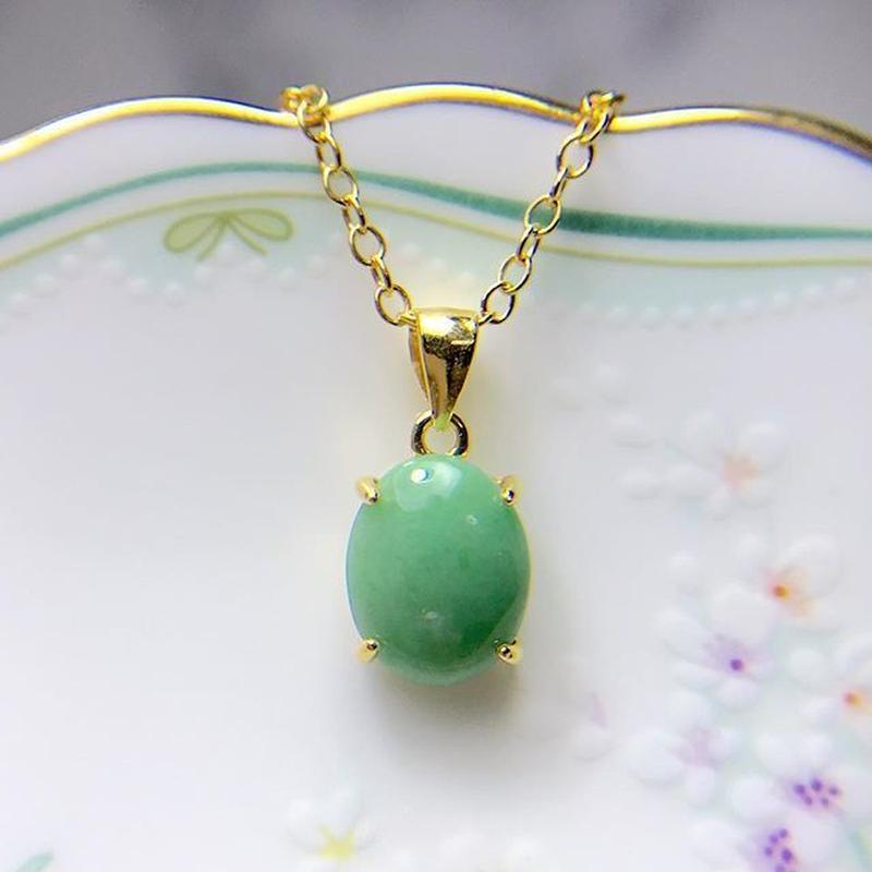 天然翡翠ネックレス2.56ct☆ ミャンマー産の原石から磨きました