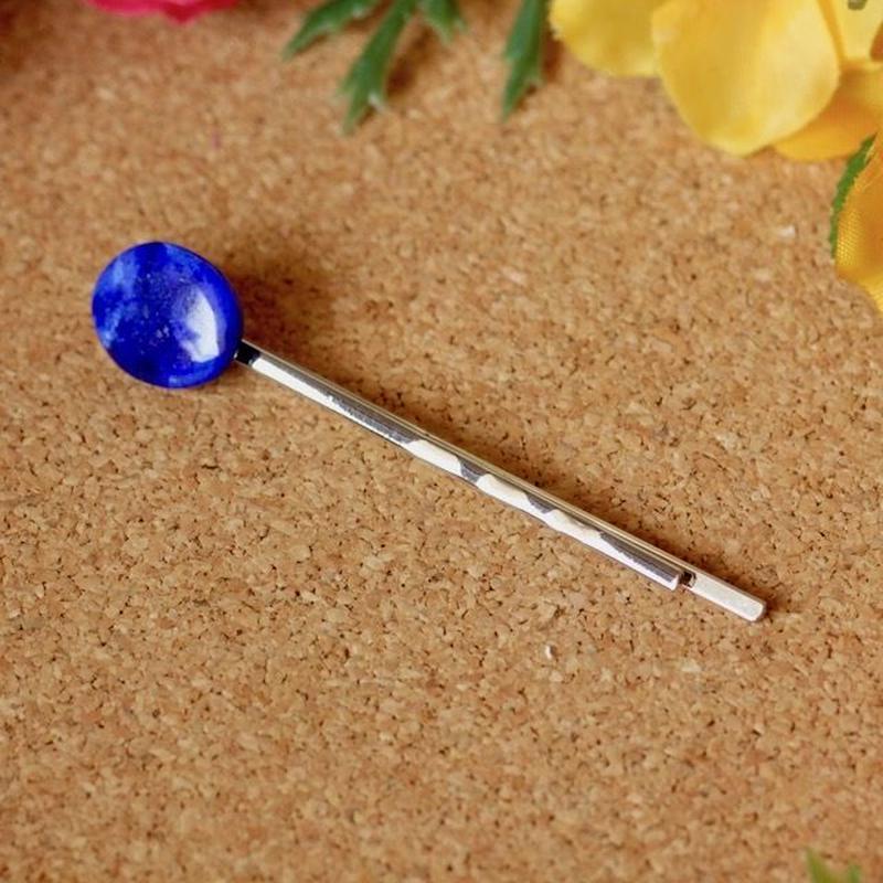 天然ラピスラズリヘアピン3.54ct☆ 原石から磨きました