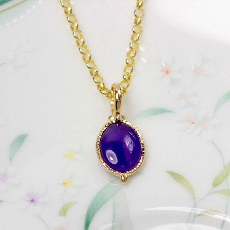 神秘的な紫色がキレイ!天然スギライトゴールドネックレス1.19ct☆原石から磨いた1点もの