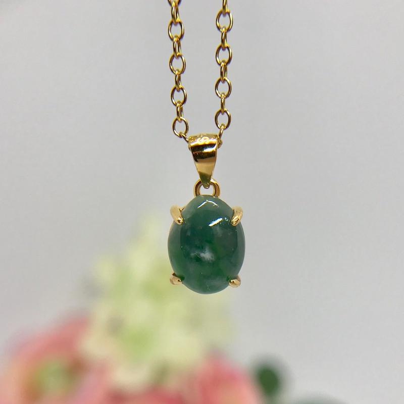 天然翡翠ネックレス2.36ct☆ ミャンマー産の原石から磨きました