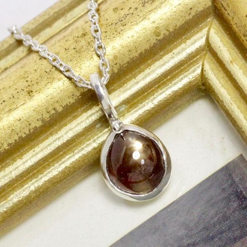 天然レインボーガーネット純銀ネックレス1.71ct|奈良県吉野郡天川村産|ハンドメイドジュエリー1点もの