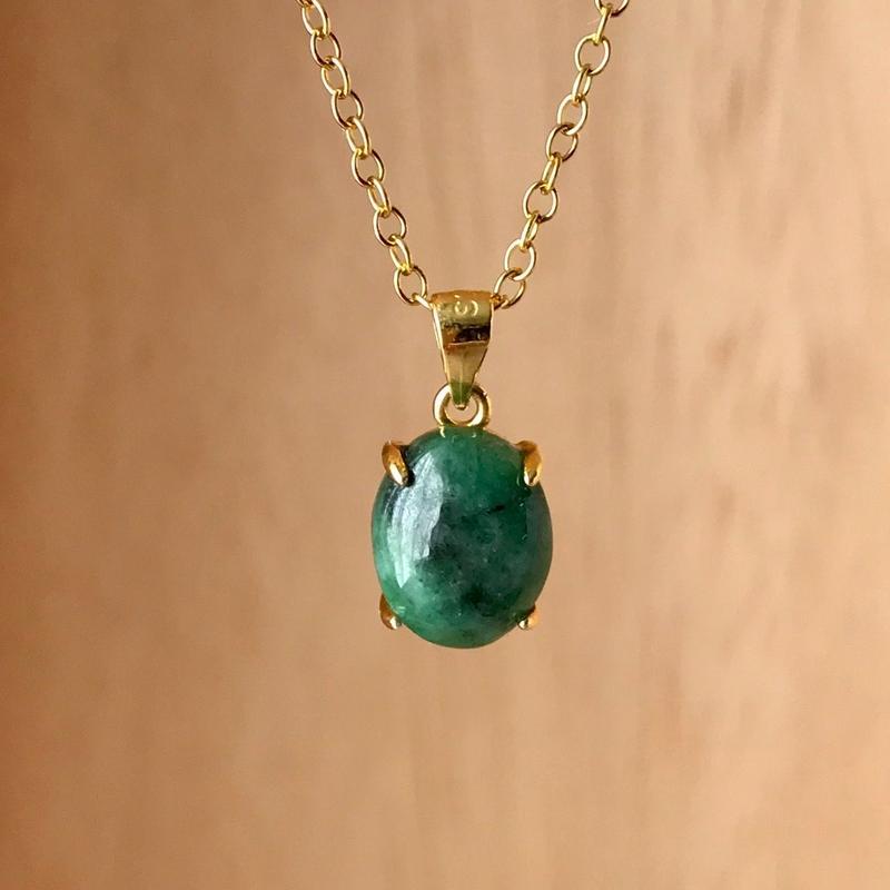 天然翡翠ネックレス2.92ct☆ ミャンマー産の原石から磨きました