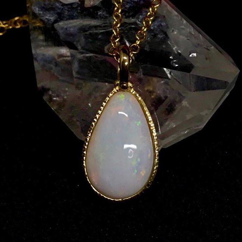 天然ミルキーオパールロングネックレス2.33ct☆ オーストラリア・クーバーペディ産の原石から磨いた1点もの!