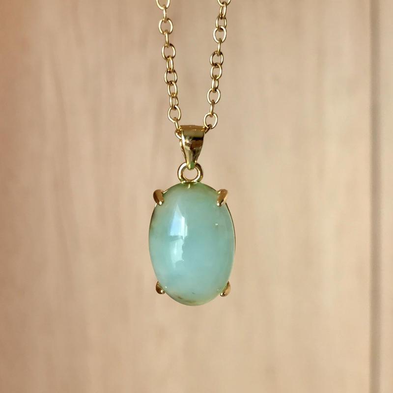 天然ブルーオパールネックレス4.60ct☆ ペルー産の原石から磨きました