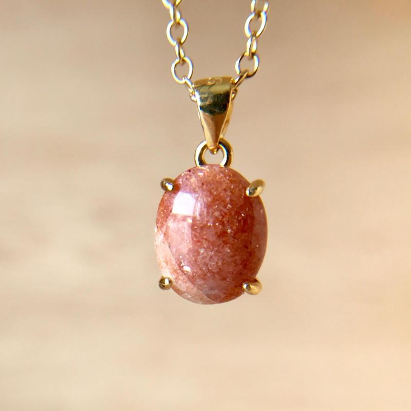 天然サンストーンネックレス2.16ct☆原石から磨きました