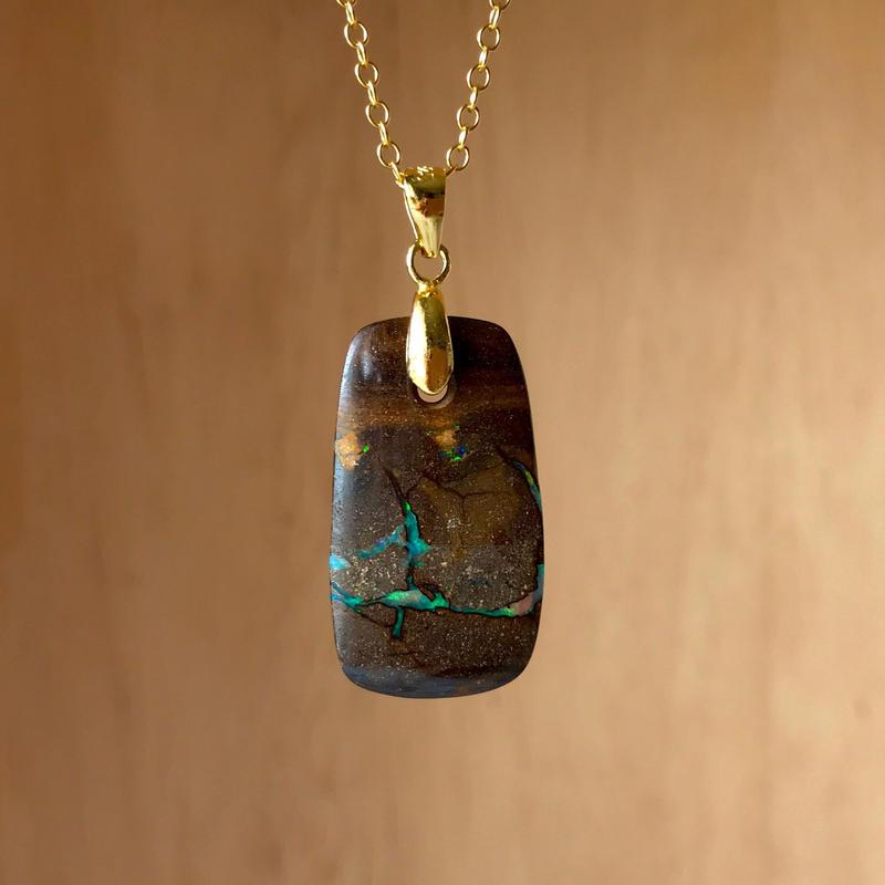天然ボルダーオパール14kgfロングネックレス15.26ct☆オーストラリア・クィーズランド産の原石から磨いた1点もの