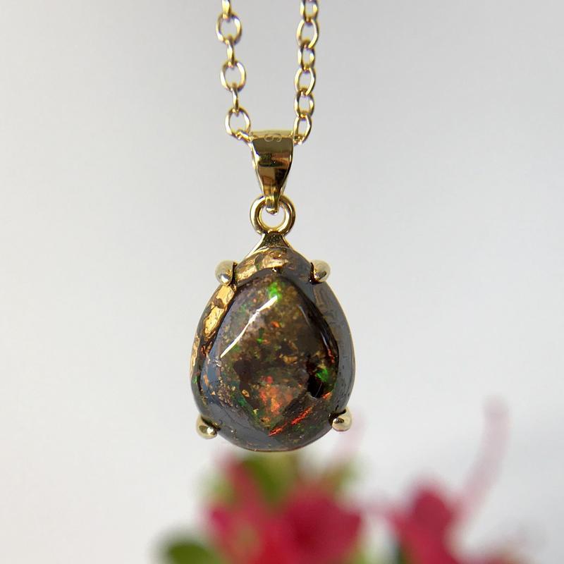天然ボルダーオパールネックレス5.33ct☆ オーストラリア・ヤワー産の原石から磨きました