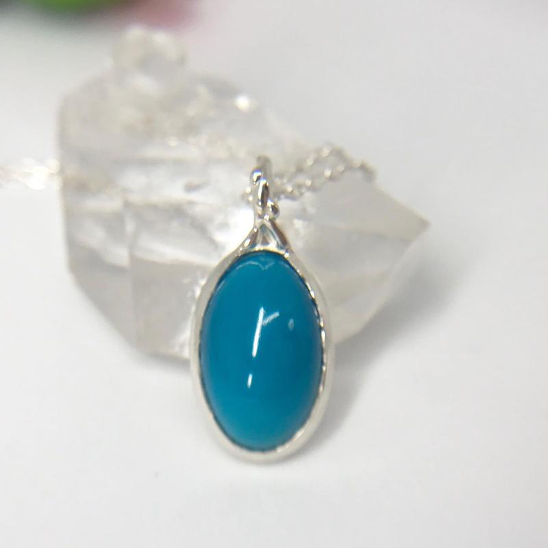 天然トルコ石(ターコイズ)純銀ネックレス4.91ct☆アリゾナ州キングマン産原石から磨いた1点もの!