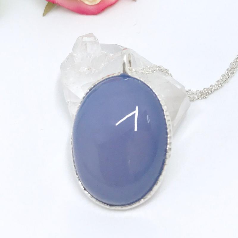 天然ブルーカルセドニー純銀ネックレス38.83ct☆アメリカコロラド州産原石から磨いた1点もの!