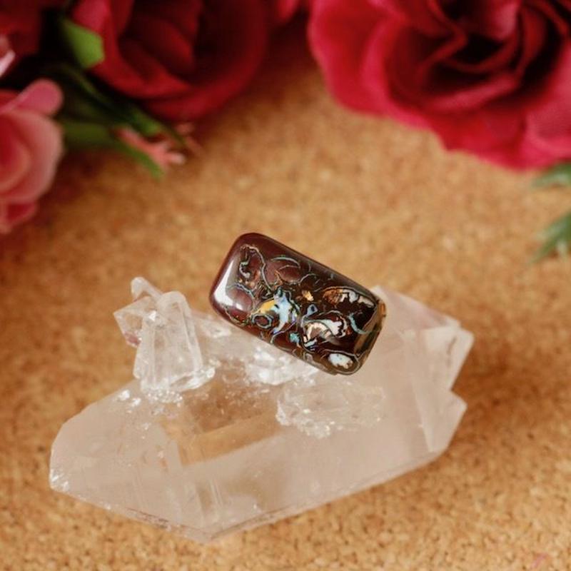 天然アイアンオパールタックブローチ11.01ct☆ オーストラリア産のQLD州ヤワー産原石から磨きました