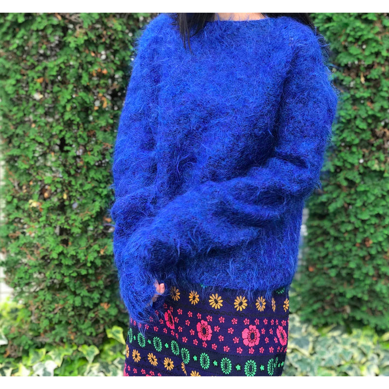 80s mohair knit sweater ロイヤルブルー