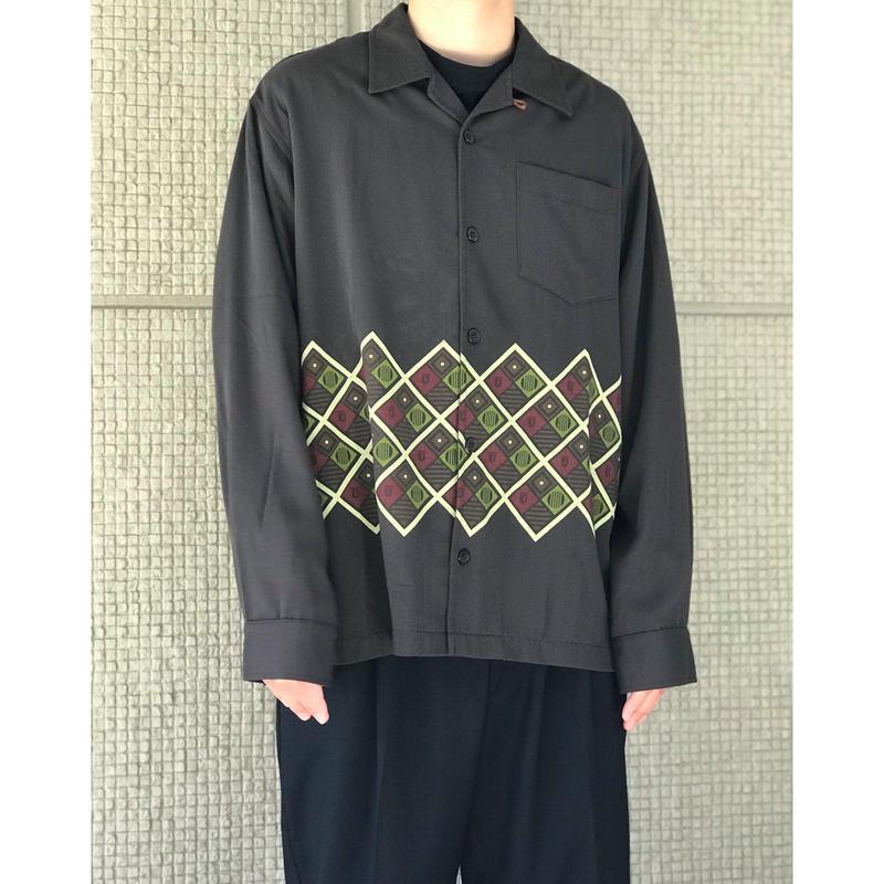 80年代 レーヨンブレンドオープンカラーシャツ