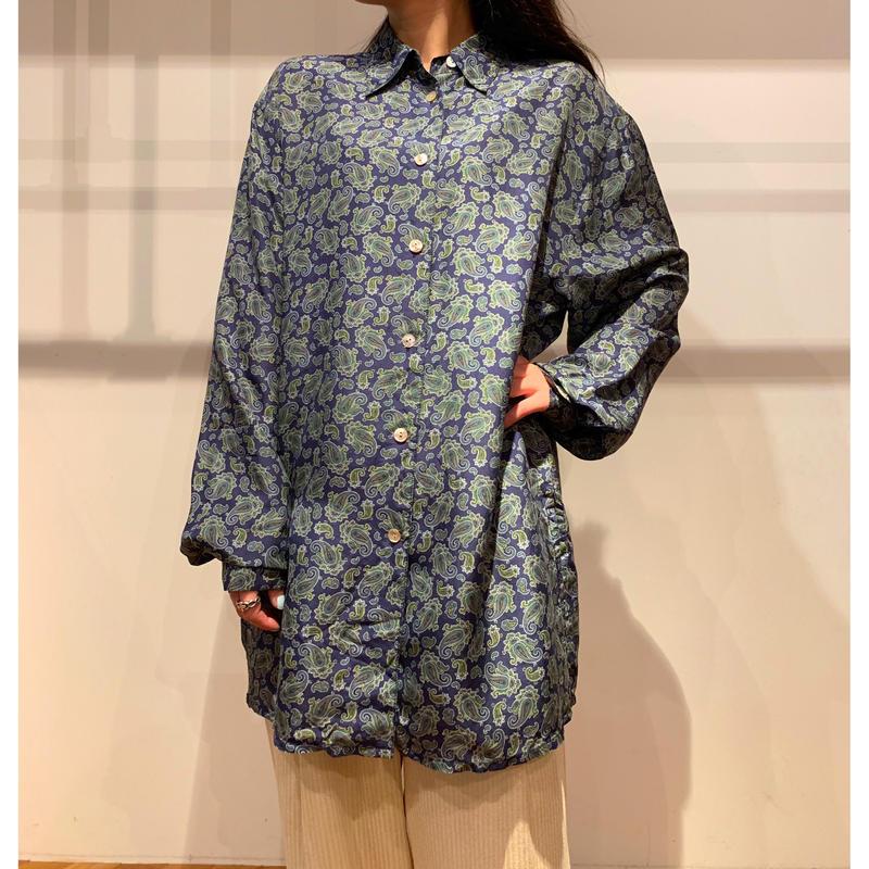 90年代 ペイズリー柄シルクシャツ