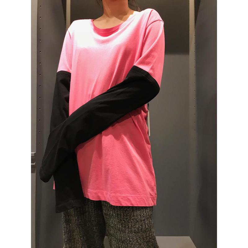 2tone cut sew ピンク×ブラック 表記L