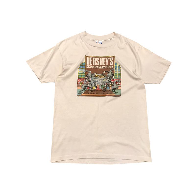 "80s ""HERSHEY'S"" print t-shirt ホワイト Hanesボディ USA製 表記L"