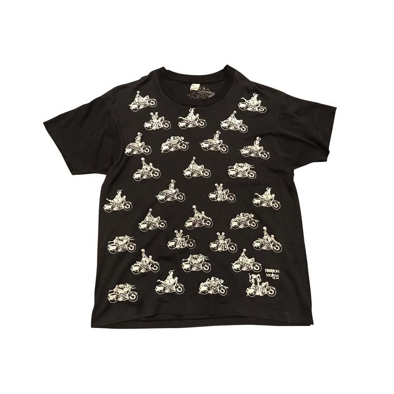 80s print t-shirt ブラック screen stars ボディ表記XL  48手
