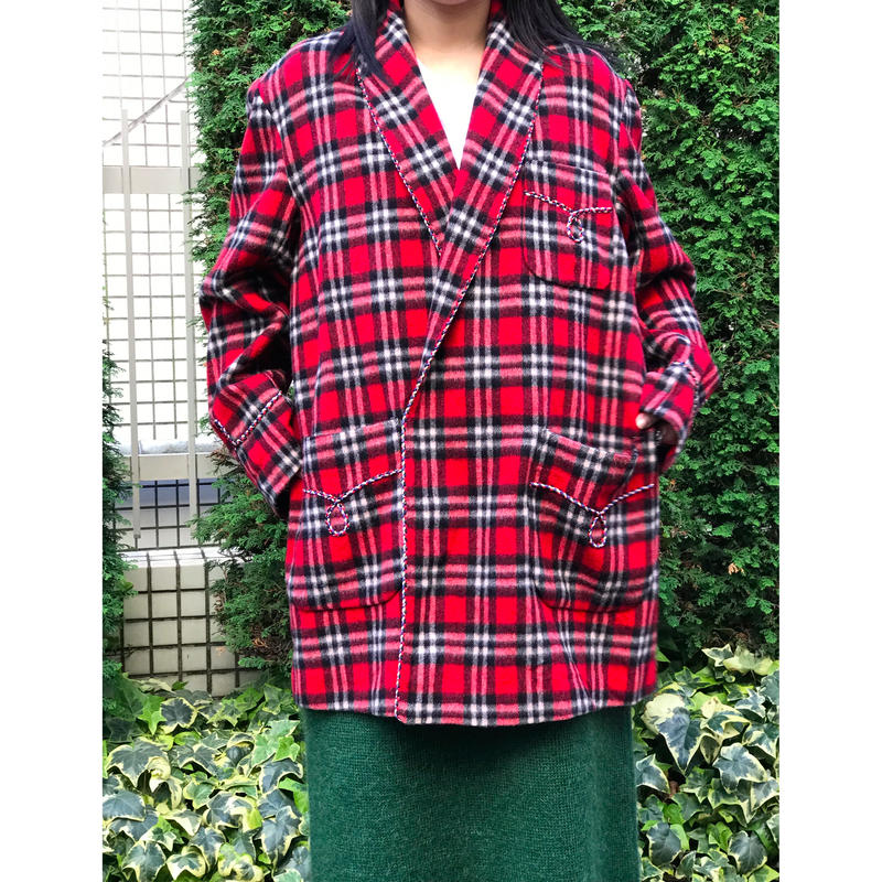 80s wool shawl collar plaid jacket レッド 表記 M