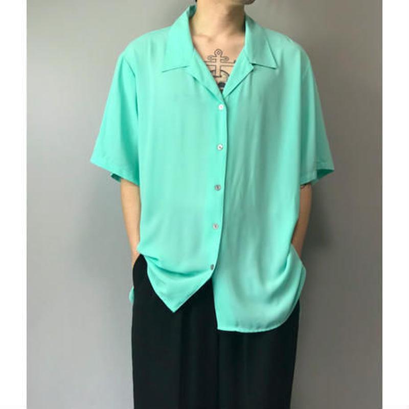 90年代 ポリオープンカラーシャツ