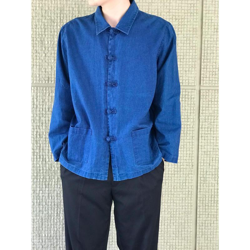 90年代 インディゴリネンカンフーシャツ