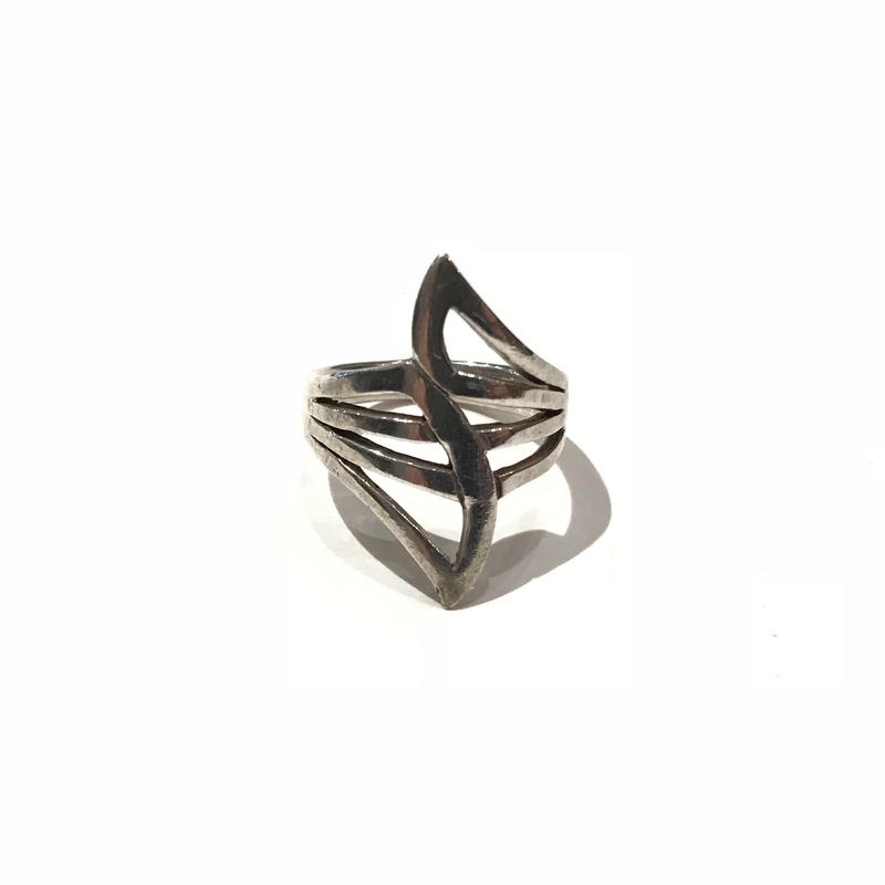 vintage silver design ring 925表記 12号