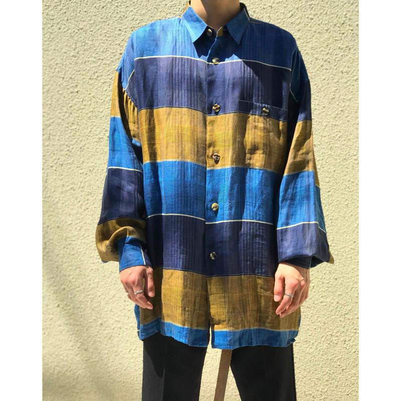 90年代 リネンボーダーシャツ