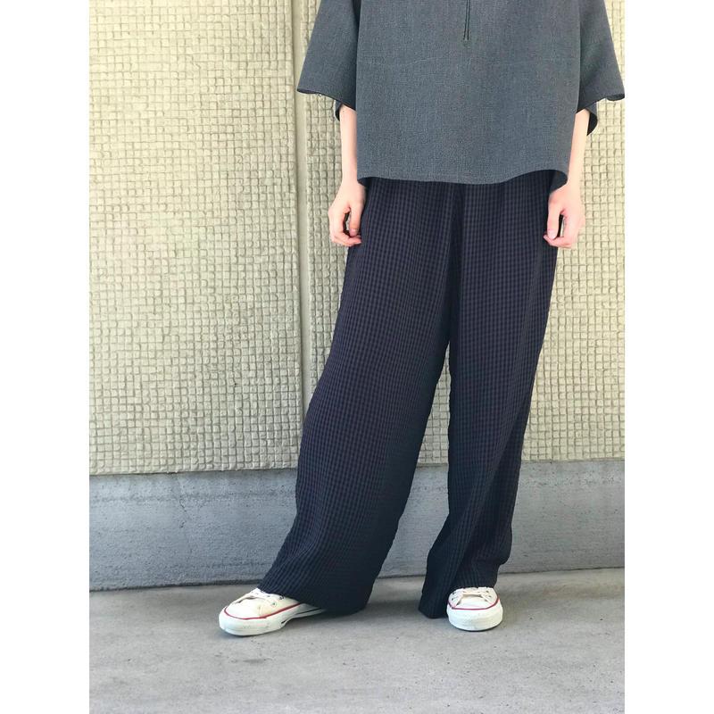 【レディース】レーヨンブレンドチェックスラックス