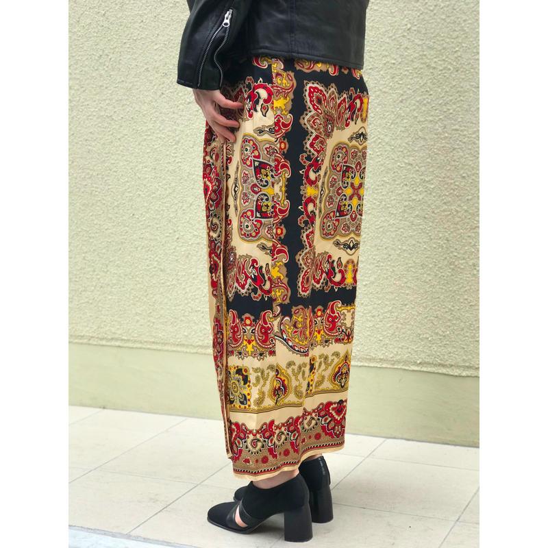 【レディース】90年代 シルク総柄ラップスカート