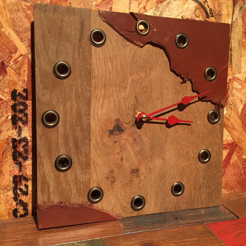 """Wall Clock """"Wood and Leather"""""""