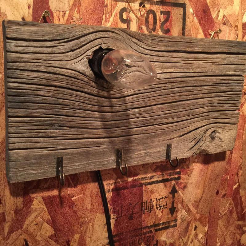 """Lighting Wall  Key Hook """"Barn Wood"""""""