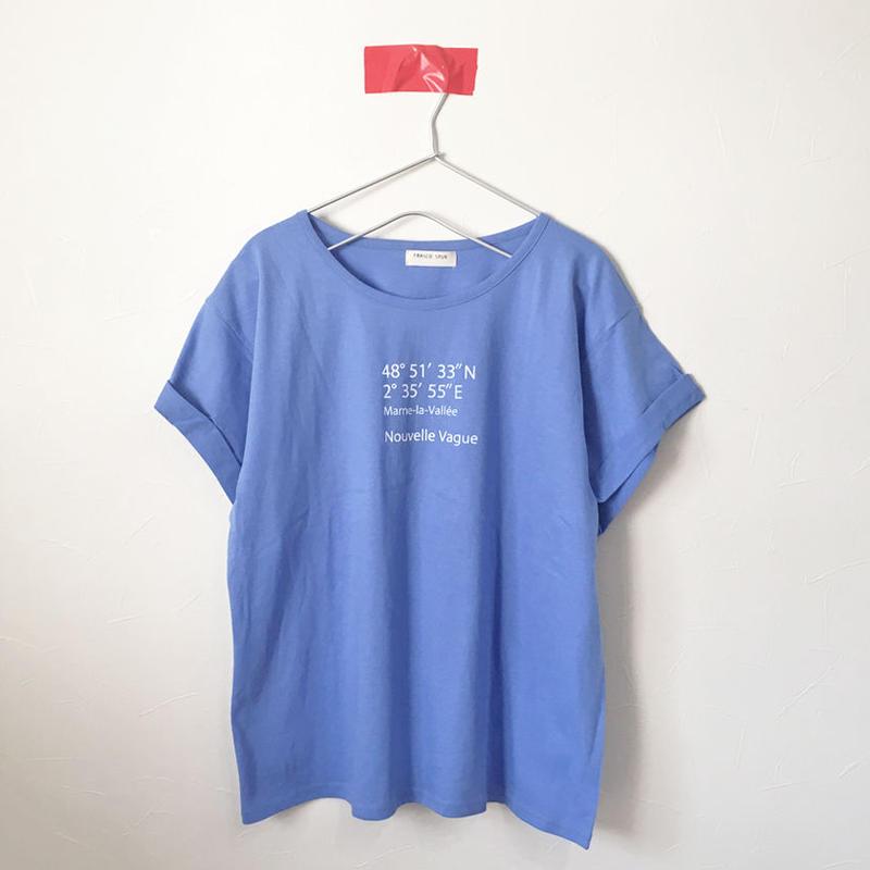 ヌーベルバーグ/ロールアップワイドTee/BLUE